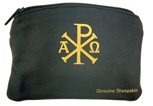 (Ava Maria and Chi Rho Cross Sheepskin Leather Rosary Case with Velvet Lining, Black, 3 1/4 Inch)