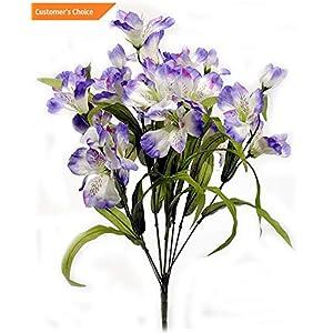 Hebel Artificial Alstroemeria Flower Bush Floral Wedding Home Pink or Purple 21 L | Model ARTFCL - 936 | 24
