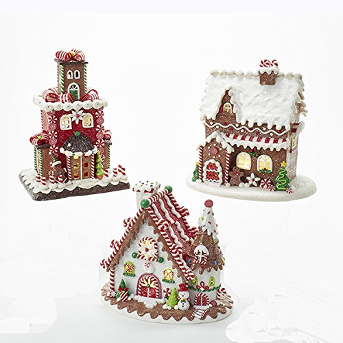 Bundle Pack of 3, Kurt Adler 9-Inch Battery-Operated Gingerbread LED Cookie House Tablepiece, 3 Assorted Styles by Kurt Adler