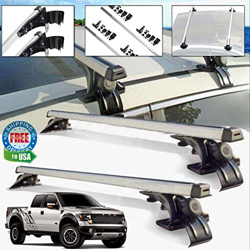 Car Top Luggage Cross Bar Aluminum Roof Rack Carrier Skidproof with 3 Clamps For Ford F-150 F-350 F-450