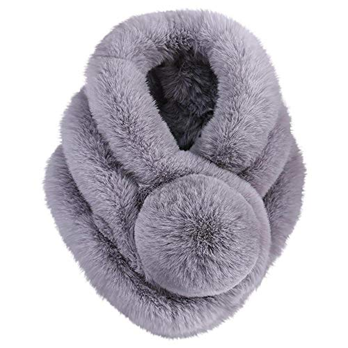 CHIDY Scarves Women Winter Warm Scarf Fashion Thicken Fur Imitation Fur Grass Scarves (Gray)