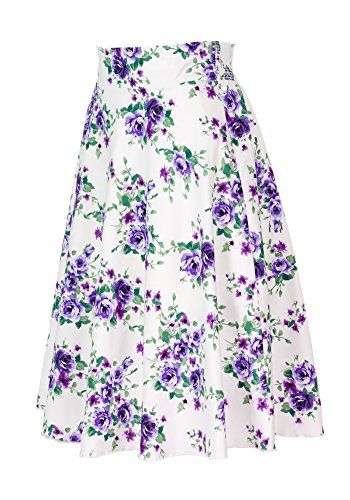 Sidecca Classic Retro 1950s Pin Up Floral High Waist A-line Skirt-White/Purple-Small