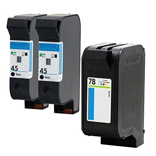LiC-Store 3x (2 Black, 1 Tri-Color) Compatible For HP 45 78 Ink Cartridge 78A 45A 51645A C6578A For Deskjet 1120c 1125c 1180c 1220c 1280 1600c 6122 9300 930c 932c 935c ()
