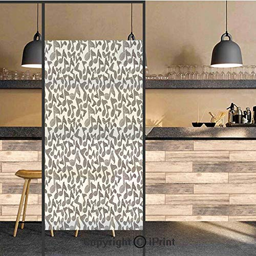 3D Decorative Privacy Window Films,Music Notes in Sketch Style Doodle Murky Distressed Hand Drawn Lines Artful Image,No-Glue Self Static Cling Glass film for Home Bedroom Bathroom Kitchen Office 24x48 ()