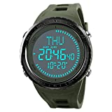 2018 New Compass Watch Men Sports Watches Outdoor 50M Waterproof Countdown Chronograph Digital Wristwatches (Army Green)