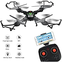 Foldable Drone, F12W Drone with Wifi FPV 2MP HD Camera, Drone Headless Mode 6-axis Gyro 2.4 G Selfie Drone Height Hold RC Quadcopter Dron RTF