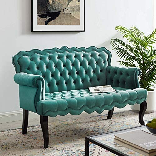 Modway Viola Tufted Velvet Modern Chesterfield Style Settee Loveseat In Teal