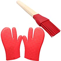 Silicone Cookware Set - Silicone Gloves For Grill & Silicone Grill Brush - Protective Oven Grill BBQ Fireplace Microwave Baking Smoking and Cooking Gloves for Men and Women - Silicone Brush is Great