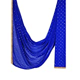 Indian Dupatta with Golden Dotted Print Chiffon Stole Scarf Chunni Hijab Gift for Woman (Blue)