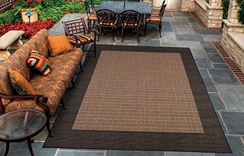 Couristan 1005 2500 Recife Checkered Field Cocoa Black Rug, 5-Feet 3-Inch by 7-Feet 6-Inch