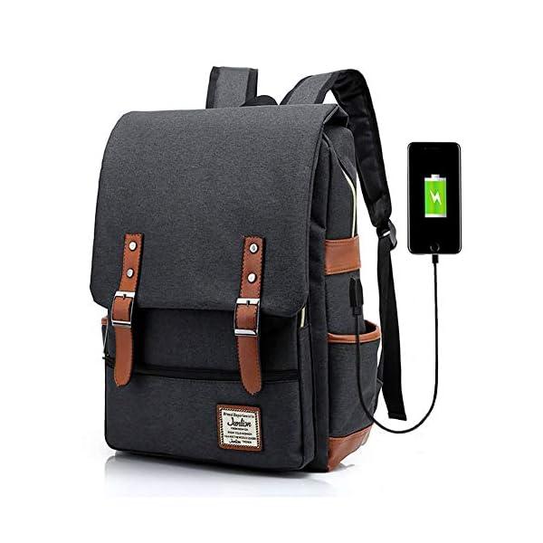 Junlion Unisex Business Laptop Backpack College Student School Bag Travel Rucksack Daypack with USB Charging Port Junlion Unisex Business Laptop Backpack College Student School Bag Travel Rucksack Daypack with USB Charging Port Black 51VQKabrLyL