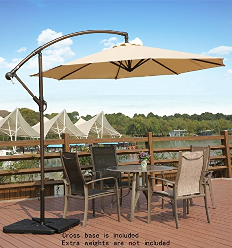 AMT Adjustable Offset Cantilever Hanging 10' Patio Umbrella with Cross Base and Crank, Beige (Patio Paving Sets)