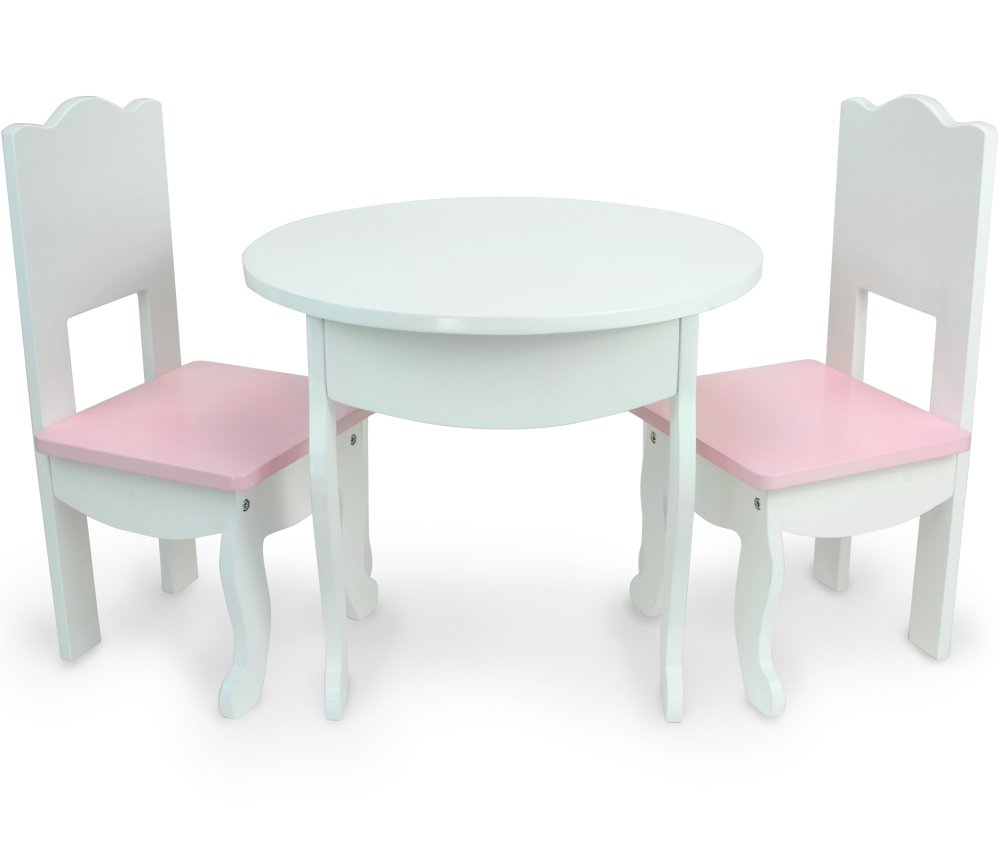 Sophia's Doll Table & Chairs Set by, Fits American Girl Dolls and More, White Doll Table & Two Doll Chairs Set for a Doll Tea Party! Doll House Furniture for American Doll