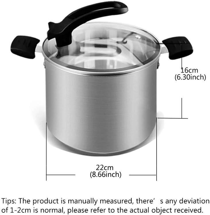 Casserole avec couvercle Marmite universelle, Marmite à soupe, Convient aux plaques à Induction, Couvercle en Verre, pour Cuisine,Silver Silver