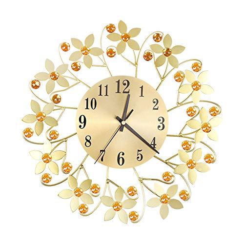 SuBoZhuLiuJ Round Rhinestone Flower Wall Clock Living Room Home Restaurant Hanging Decor Golden