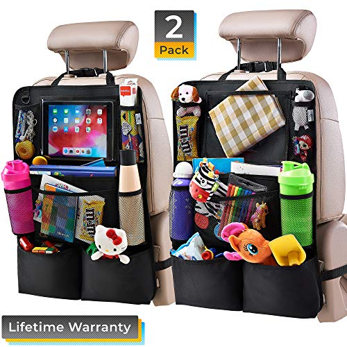 "Helteko Backseat Car Organizer - Kick Mats Back Seat Protector with 10"" Tablet Holder - Car Back Seat Organizer for Kids - Car Travel Accessories - Kick Mat with 8 Storage Pockets (2 Pack)"