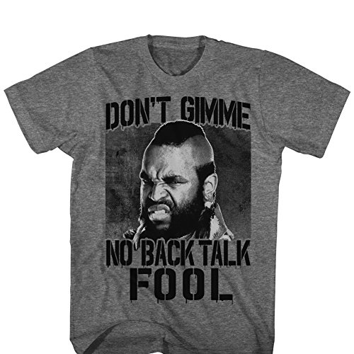 American Classics Unisex Adults Mr  T No Back Talk Short Sleeve T Shirt  Graphite Heather  Xxlarge