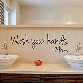 Dolland Wash Your Hands Love Mom Quote Bathroom Wall Stickers Waterproof Art  Vinyl Decal Bathroom Wall
