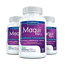 Maqui Berry (3 Bottles) - High Potency, Premium Maqui Berry Supplement. All Natural Antioxidant Superfood Supplement - 500mg per serving, 30 capsules each