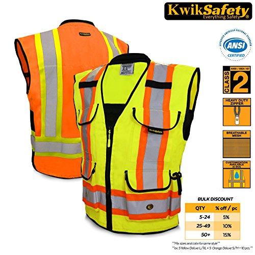 Halloween Costumes Iseas (KwikSafety Presidential Hi Vis Yellow ANSI Class 2 Safety Vest | Two Tone Reinforced Polyester w/ Reflective Strips, 9 Pockets & Heavy Duty Zipper | Hi Viz Construction Surveyor Security | L/XL)