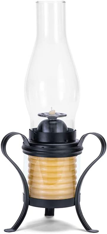 Candle by the Hour 40-Hour Hurricane Lantern, Black, Eco-friendly Natural Beeswax with Cotton Wick