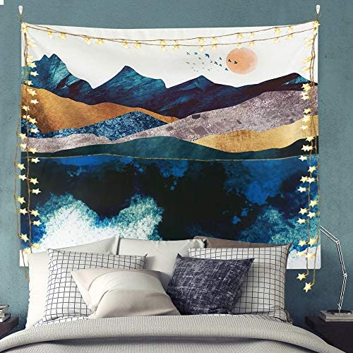 Mountain Tapestry, Wall Tapestry with Sunset Nature Landscape for Home and Office Decor 70 x 90