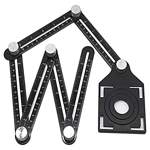 Multi Angle Measuring Ruler Premium Aluminum Alloy Professional Layout Tool Multi Angle Measuring Ruler for Man Handymen/Builders/Craftsmen/DIY (Black) from Aibiner -Home&Kitchen