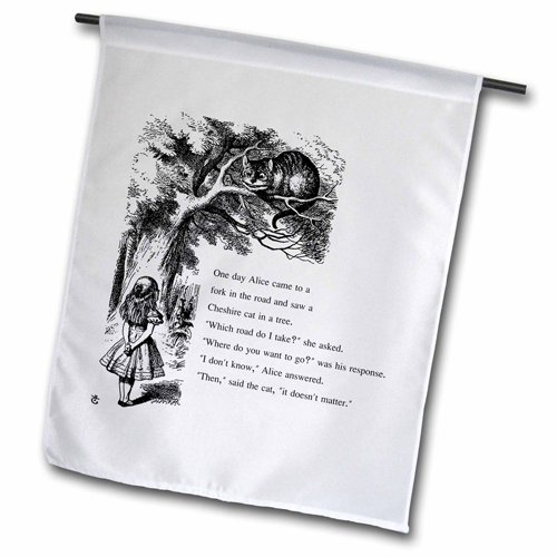 3dRose fl_193782_1 Which Road Do i Take Cheshire Cat Alice in Wonderland Garden Flag, 12 by 18