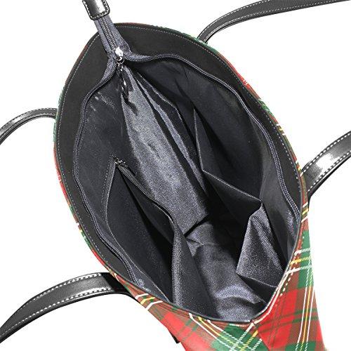 multicolore donne rosso Tote a COOSUN borsa Borsa Plaid pelle tracolla PU e Bag borse per le in medio Twqg4