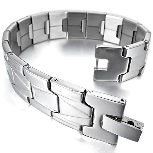 INBLUE Men's Stainless Steel Bracelet Link Wrist Silver ()