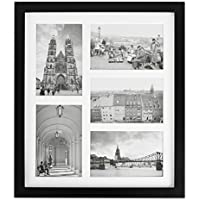 Golden State Art, 11.6x13.7 Black Photo Wood Collage Frame with REAL GLASS and White displays (5) 4x6 pictures