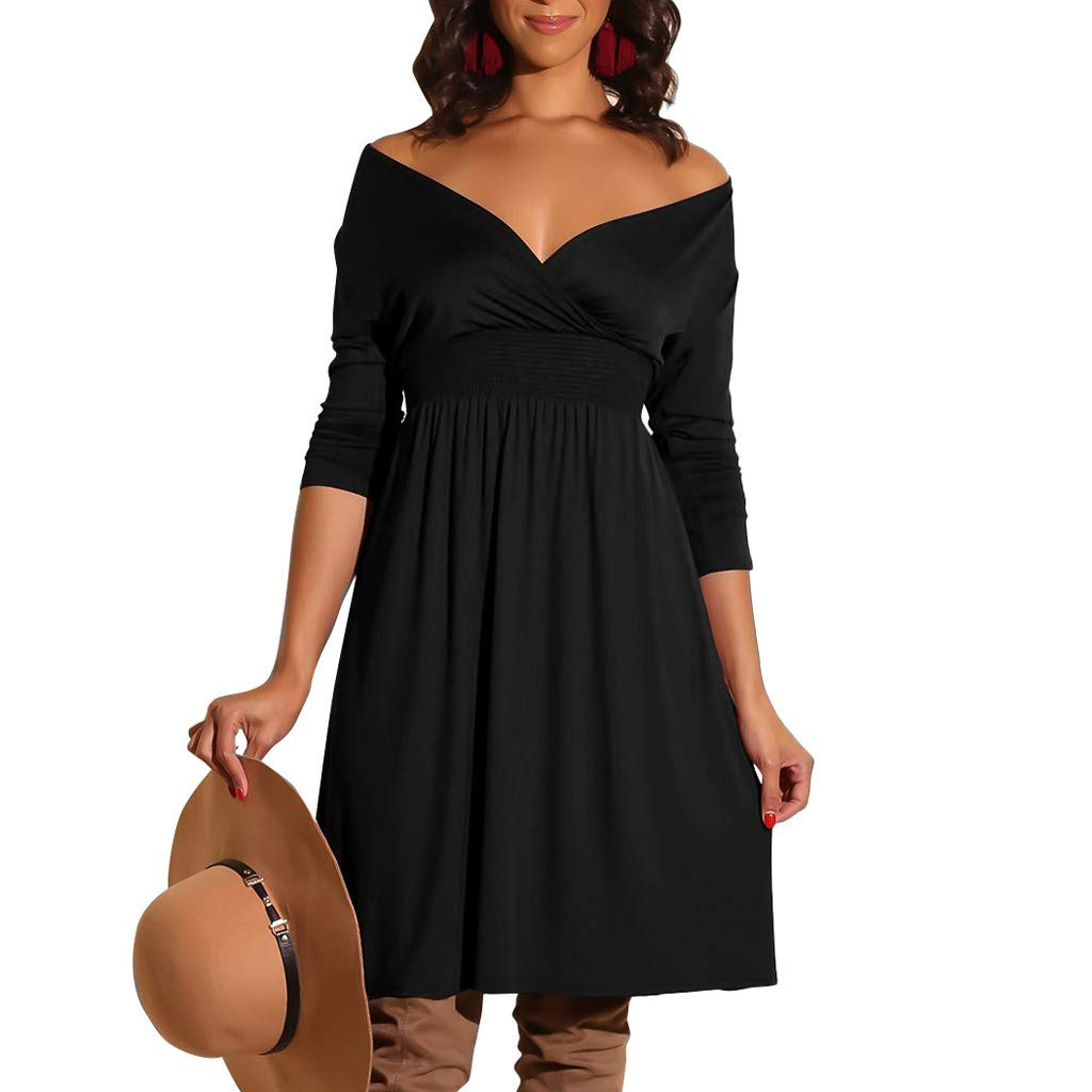 Women Dress Fashion Ladies V-Neck Long Sleeve Solid Color Casual Classic Belted Knee-Length Sheath Faux Black Wrap Dress(Black,M) by Quelife