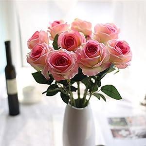 Crt Gucy Artificial Flowers Long Stem Silk Rose Flower Bouquet Wedding Party Home Decor, Pack of 6 7
