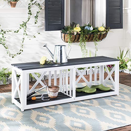 Safavieh FOX6706K Outdoor Collection Branco Dark Slate Grey Bench, Gray/White