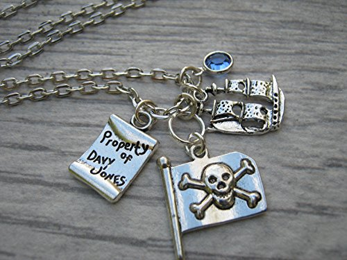 Personalized Pirate Necklace, Pirate Flag Jewelry, Skull and Crossbones Birthstone Necklace, Pirate Ship (Skull And Crossbone Costume Jewelry)
