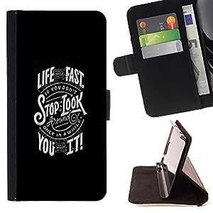 BullDog Case - FOR/LG G2 D800 / - / LIVE FAST /- Monedero de cuero de la PU Llevar cubierta de la caja con el ID Credit Card Slots Flip funda de cuer