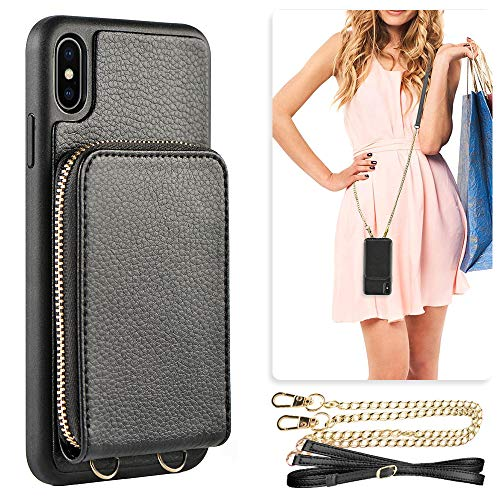 Leather Zipper Case - iPhone Xs Wallet Case, JLFCH iPhone X Leather Zipper Case with Card Slot Holder Zipper Closure Detachable Wrist Strap Crossbody Shouder Chain Purse for iPhone X/XS 5.8 inch - Black