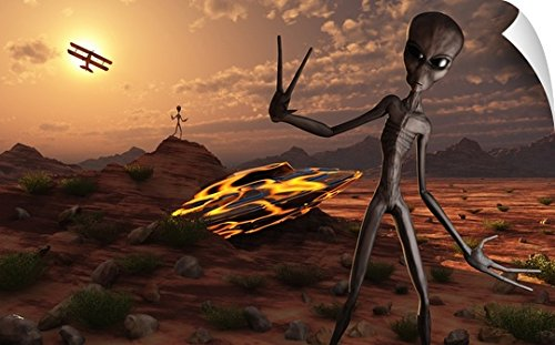 Mark Stevenson Wall Peel Wall Art Print entitled Grey aliens at the site of their UFO crash by Canvas on Demand
