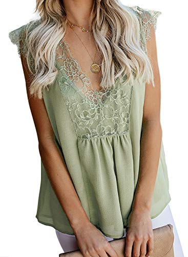 Acelitt Womens Crochet Lace Cami Tank Top Casual Loose Sleeveless V Neck Vest Green Large
