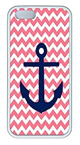IMARTCASE iPhone 5S Case, Pink Chevron Background With Navy Anchor Case for Apple iPhone 5S/5 TPU - White