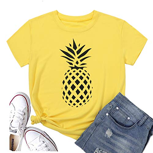 Hellopopgo Womens' T Shirts Tops Cute Graphic Tees Shirts Cotton Short Sleeve Casual Blouse Junior Shirts