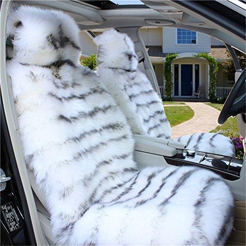 Peiji 2Pcs Luxury Interior Thick Wool Car Seat Cover Set, Sheepskin Rug Fleece, Universal Cushion Automobile Decoration (White -