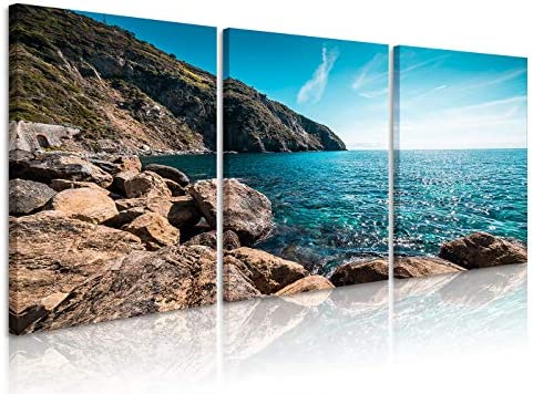 Natural art Seascape Oil Painting on Canvas The Blue Sea, Blue Sky Wall Art for Home Living Room Teen Girl Bedroom Office Decoration, Ready to Hang 16×24 Inch 3 Panels