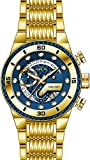 Invicta 25281 Men's S1 Rally Blue Glass Fiber Dial Yellow Gold Steel Bracelet Chronograph Watch
