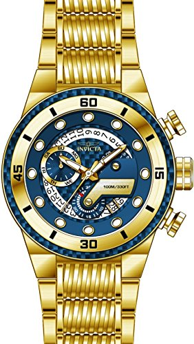 Gold Invicta Bracelets (Invicta 25281 Men's S1 Rally Blue Glass Fiber Dial Yellow Gold Steel Bracelet Chronograph Watch)