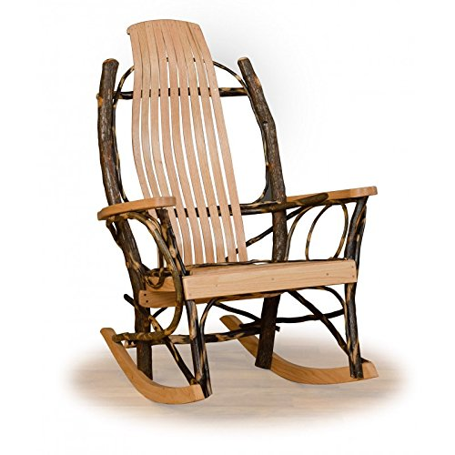 Rustic Hickory and Oak 9 Slat Flat Arm Rocker-Amish Made
