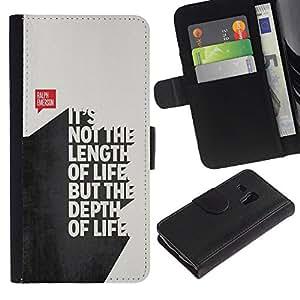 A-type (Length Funny Quote 3D Text Life Inspiring) Colorida Impresión Funda Cuero Monedero Caja Bolsa Cubierta Caja Piel Card Slots Para Samsung Galaxy S3 MINI 8190 (NOT S3)