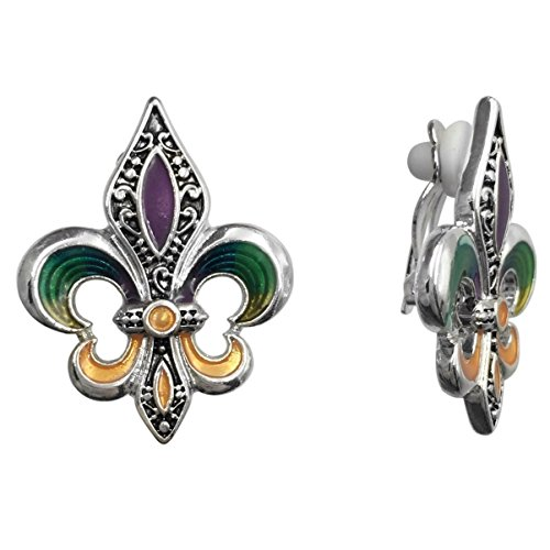(Fleur De Lis Mardi Gras Purple Green Yellow Painted Silver Tone Clip On Earrings )