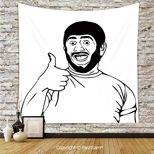 FashSam Polyester Tapestry Wall LOL Happy Guy with Thumbs Up Bodily Gesture Cool Sounds Good Style Graphic Hanging Printed Home Decor(W59xL90) ()