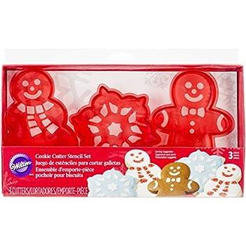 Wilton 2304-0121 3-Piece Christmas Cookie Cutter Stencil Set